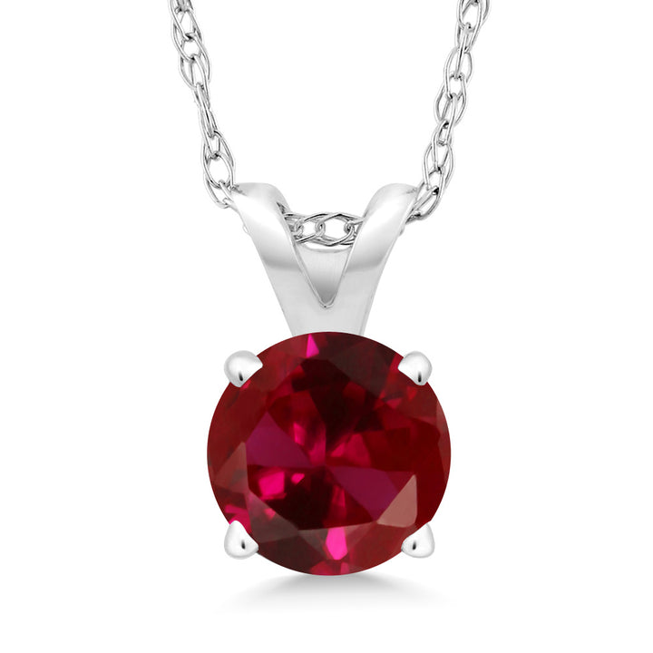 Gem Stone King 0.60 Ct Round Red Created Ruby 14K White Gold Pendant With Chain