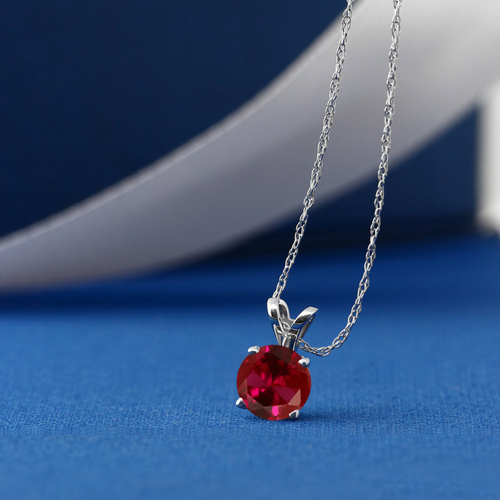 0.60 Ct Round Red Created Ruby 14K White Gold Pendant With Chain