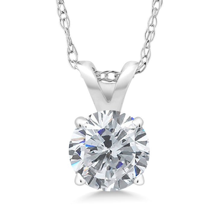 Gem Stone King 0.50 Ct Round G/H Diamond 14K White Gold Pendant With Chain