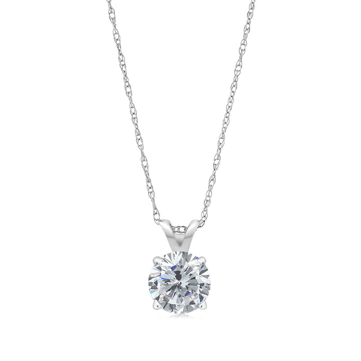 0.50 Ct Round G/H Diamond 14K White Gold Pendant With Chain