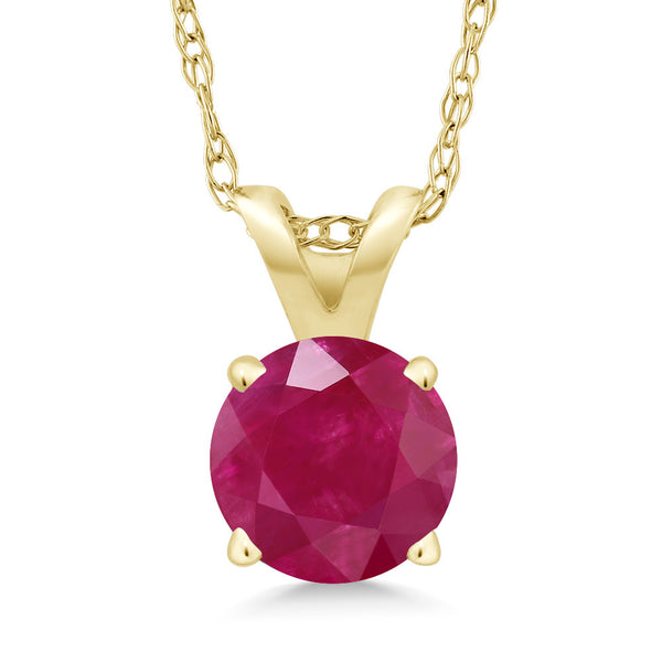 Gem Stone King 0.55 Ct Round Red Ruby 14K Yellow Gold Pendant With Chain