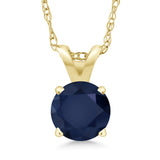 Gem Stone King 0.60 Ct Round Blue Sapphire 14K Yellow Gold Pendant With Chain