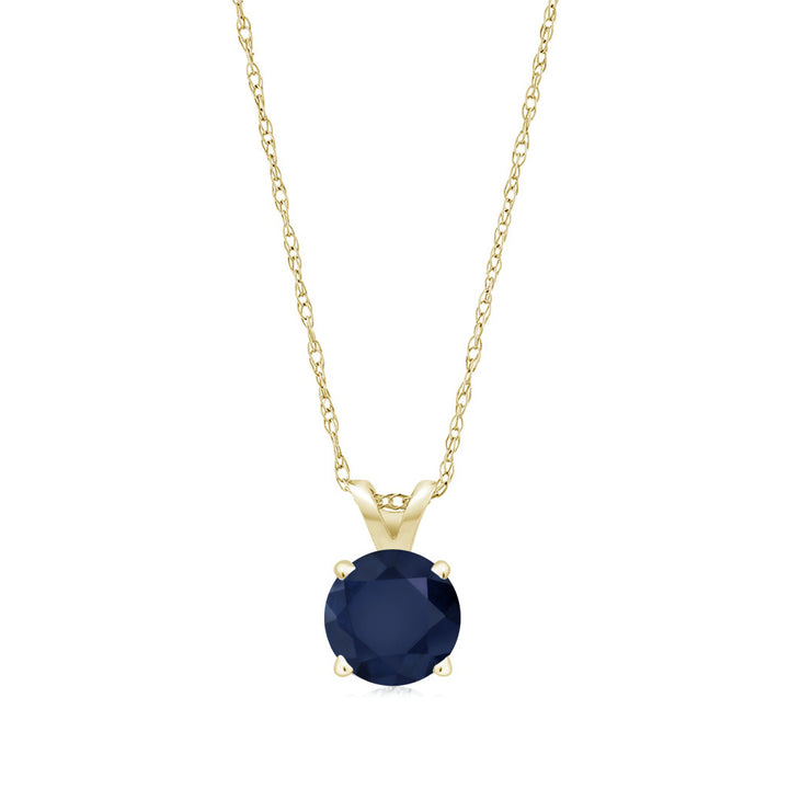 0.60 Ct Round Blue Sapphire 14K Yellow Gold Pendant With Chain