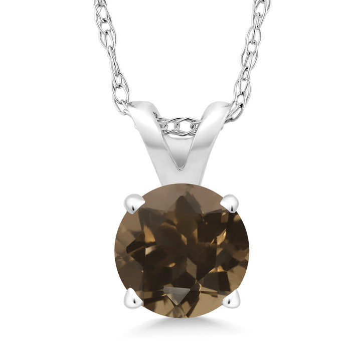 Gem Stone King 0.46 Ct Round Brown Smoky Quartz 14K White Gold Pendant With Chain