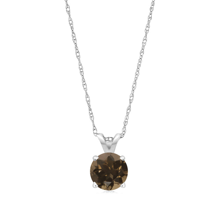 0.46 Ct Round Brown Smoky Quartz 14K White Gold Pendant With Chain
