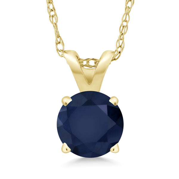 "14K Yellow Gold Blue Sapphire Pendant Necklace (1.00 Ct Round; With 18"" Chain)"