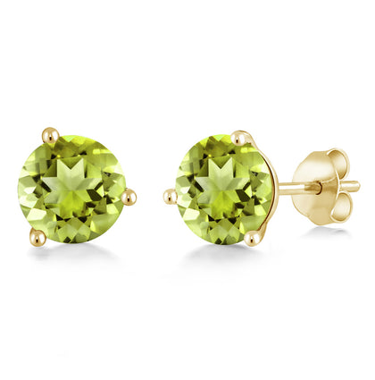 2.00 Ct Round 6mm Canary Mystic Topaz 14K Yellow Gold Stud Earrings