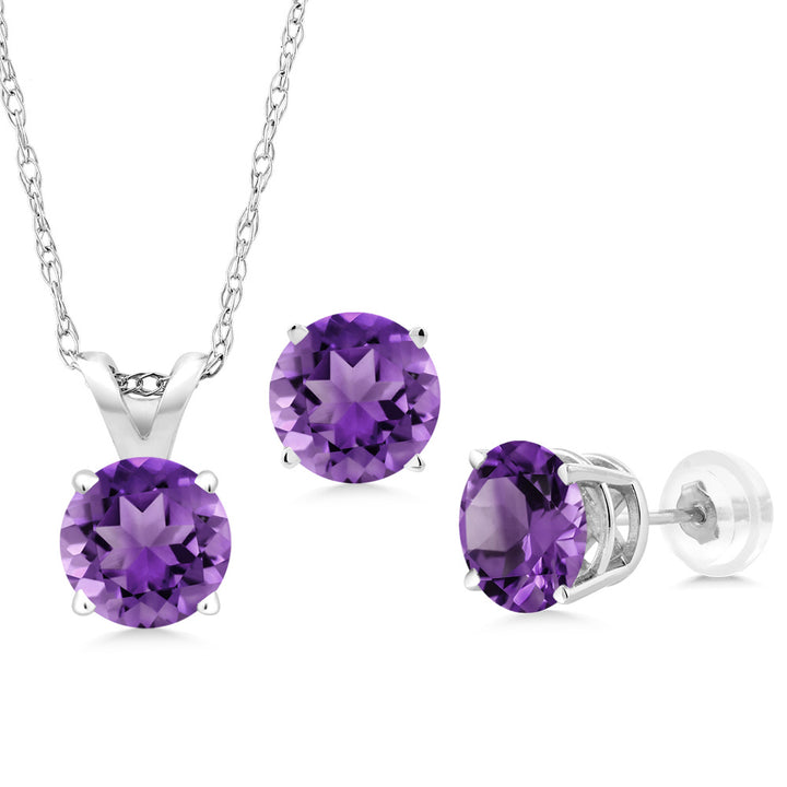 Gem Stone King 2.10 Ct Round Purple Amethyst 14K White Gold Pendant Earrings Set With Chain