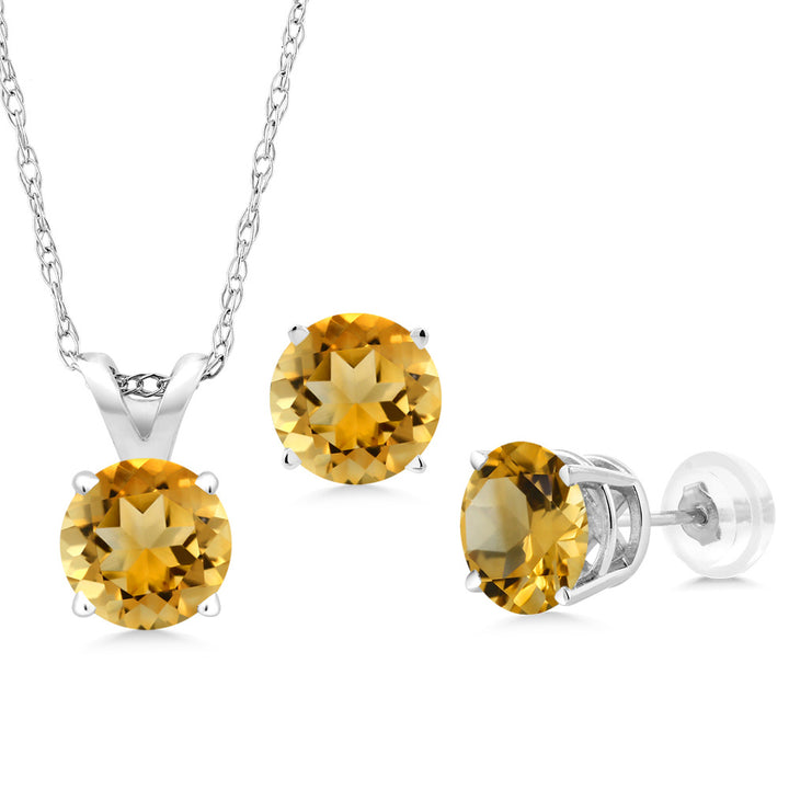 Gem Stone King 2.10 Ct Round Yellow Citrine 14K White Gold Pendant Earrings Set With Chain