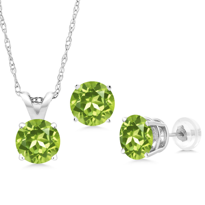 Gem Stone King 2.55 Ct Round Green Peridot 14K White Gold Pendant Earrings Set With Chain