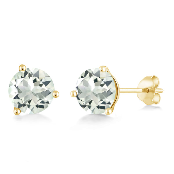 3.70 Ct Round 8mm Green Prasiolite 14K Yellow Gold Stud Earrings