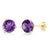 3.40 Ct Round 8mm Purple Amethyst 14K Yellow Gold Stud Earrings