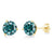 14K Yellow Gold Stud Earrings Blue Round Created Moissanite 3.80ct DEW