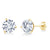 14K Yellow Gold Earrings Forever One GHI Round Created Moissanite 3.80ct DEW