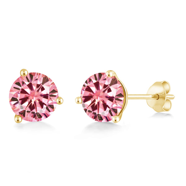 14K Yellow Gold Stud Earrings Pink Round Created Moissanite 3.80ct DEW