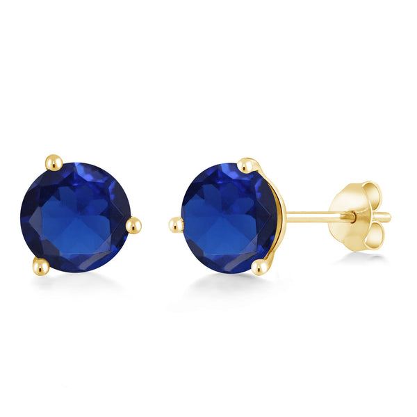 5.00 Ct Round 8mm Blue Simulated Sapphire 14K Yellow Gold Stud Earrings