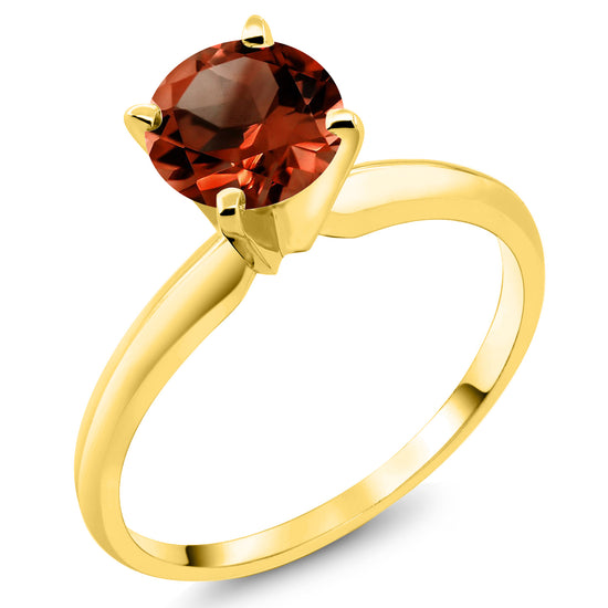 Gem Stone King 14K Yellow Gold Women's Solitaire Engagement Ring 1.00 Ct Round Red Garnet