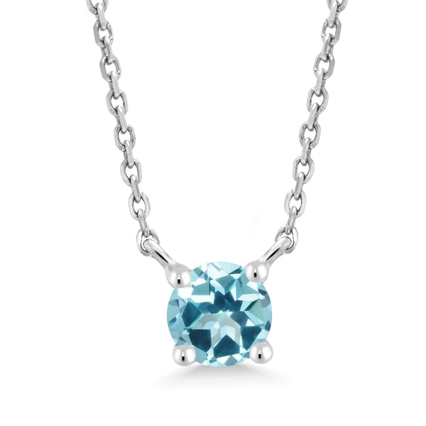 10K White Gold Pendant Necklace Set with Round Ice Blue Topaz from Swarovski
