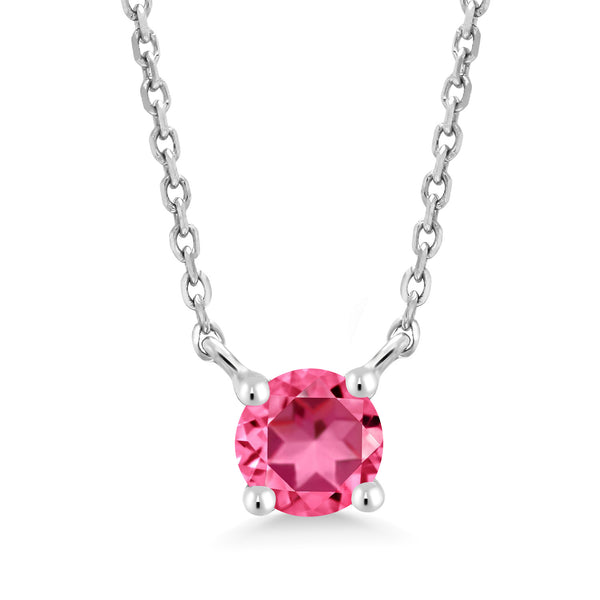 10K White Gold Pendant Necklace Set with Round Pink Topaz from Swarovski