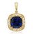 Women's Cushion Blue Simulated Sapphire and Diamond 10K Yellow Gold Necklace