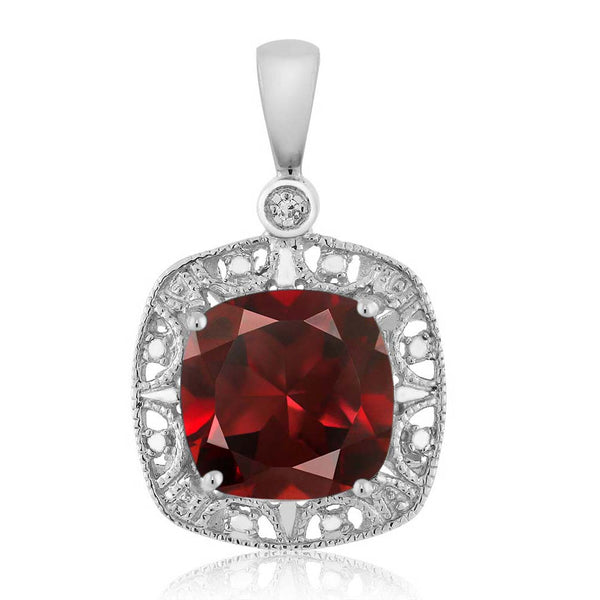 10K White Gold Cushion Red Garnet and Diamond Accent Necklace 2.74 cttw