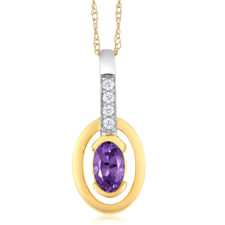 Gem Stone King 10K Two-Tone Gold Diamond Oval Purple Amethyst Pendant with Chain 0.24 cttw