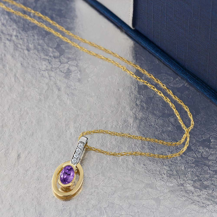 10K Two-Tone Gold Diamond Oval Purple Amethyst Pendant with Chain 0.24 cttw