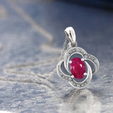 Women's Oval Red Ruby 10K White Gold Diamond Pendant With Chain