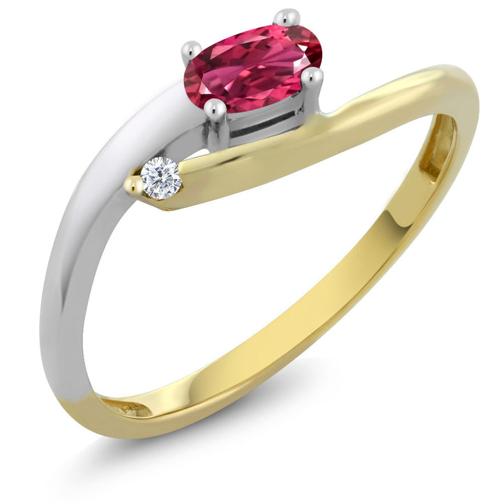10K Two-Tone Diamond Accent Ring Oval Pink Tourmaline Aaa 0.28 cttw (Size 7)