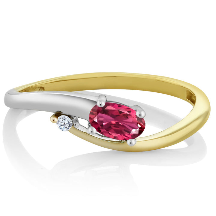10K Two-Tone Diamond Accent Ring Oval Pink Tourmaline Aaa 0.28 cttw