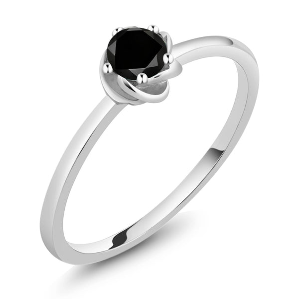 10K White Gold 0.17 Ct Round Black Diamond Floral Solitaire Ring