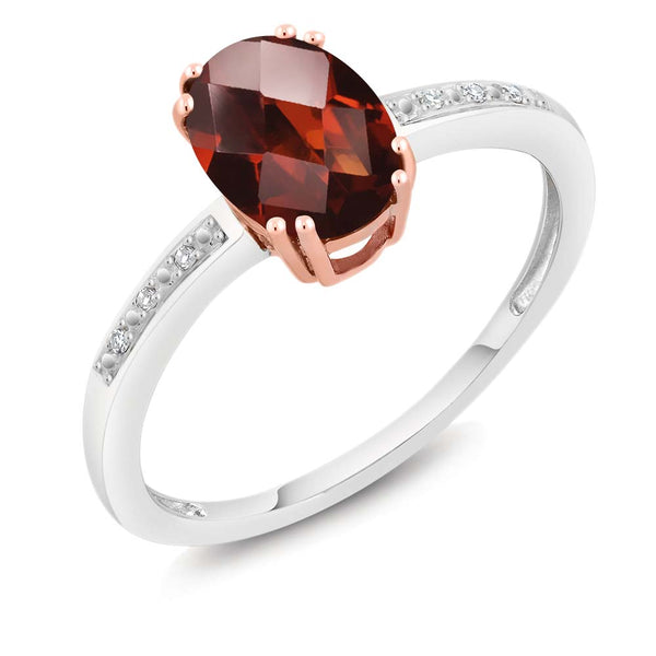10K Two-Tone Gold Oval Checkerboard Red Garnet and Diamond Women's Ring 1.40 cttw (Available 5,6,7,8,9)