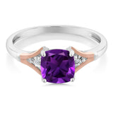1.10 Ct Cushion Checkerboard Purple Amethyst and Diamond 10K Two-Tone Gold Ring