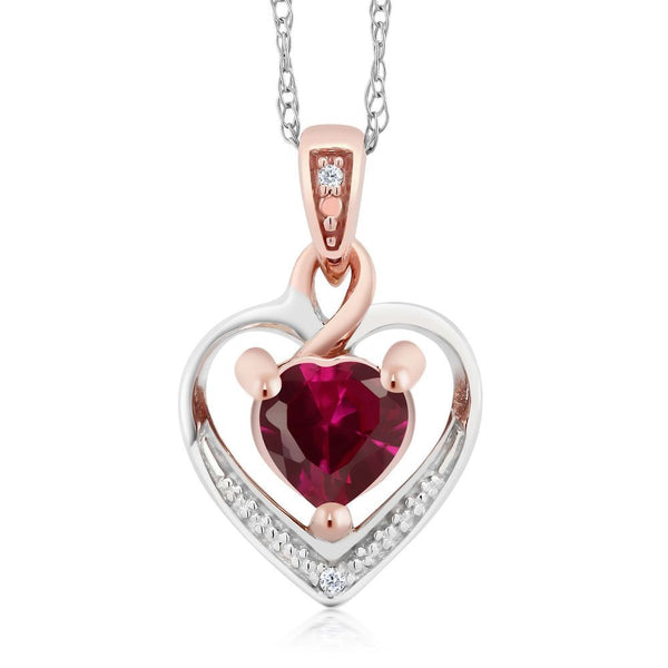 10K Two-Tone Gold Created Ruby and Diamond Heart Shape Pendant Necklace w/ Chain