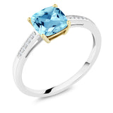 Gem Stone King 925 Sterling Silver and 10K Yellow Gold Ring Swiss Blue Topaz with Diamond Accent (1.90 cttw, 7x7mm Cushion)