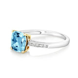 925 Sterling Silver and 10K Yellow Gold Ring Topaz with Diamond Accent 1.90 ct