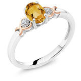 Gem Stone King 925 Sterling Silver and 10K Rose Gold Ring Yellow Citrine with Diamond Accent 0.60 cttw (Available 5,6,7,8,9)