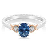 925 Sterling Silver and 10K Rose Gold Ring Blue Mystic Topaz with Diamond Accent
