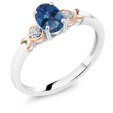 Gem Stone King 925 Sterling Silver and 10K Rose Gold Ring Blue Mystic Topaz with Diamond Accent 0.80 cttw (Available 5,6,7,8,9)