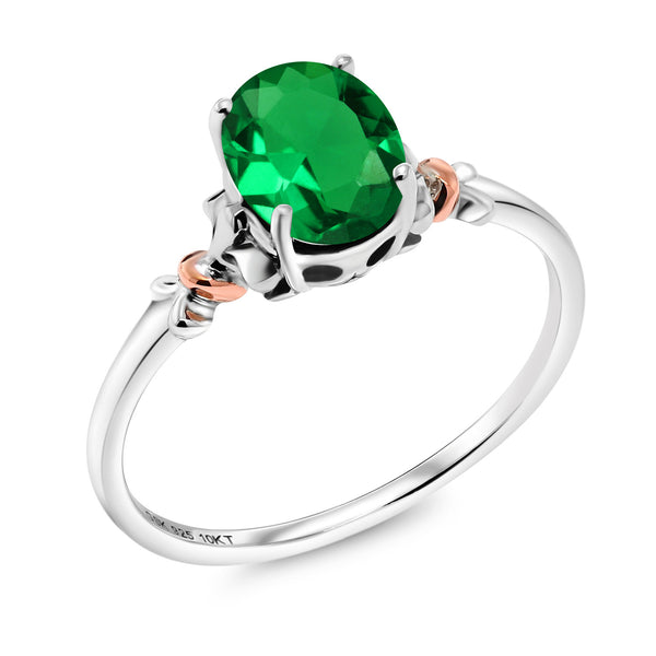 Gem Stone King 925 Sterling Silver and 10K Rose Gold Ring Oval Green Nano Emerald 0.60 cttw (Available 5,6,7,8,9)