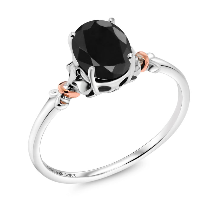 Gem Stone King 925 Sterling Silver and 10K Rose Gold Ring Oval Black Sapphire 1.07 cttw (Available 5,6,7,8,9)