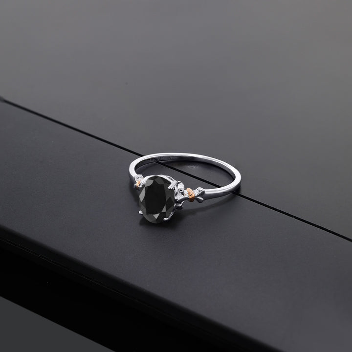 925 Sterling Silver and 10K Rose Gold Ring Oval Black Sapphire 1.07 cttw