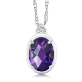 Gem Stone King 10K White Gold Diamond Accent Pendant with Chain Oval Purple Amethyst 0.77 cttw