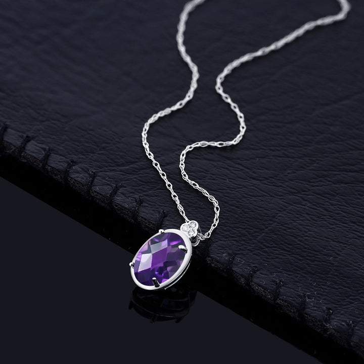 10K White Gold Diamond Accent Pendant with Chain Oval Purple Amethyst 0.77 cttw