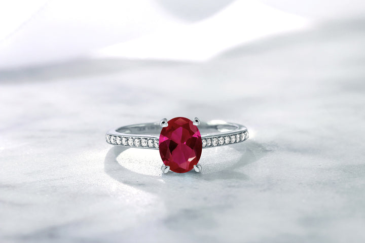 10K White Gold Diamond Accent Engagement Ring Oval Red Created Ruby 1.25 ct