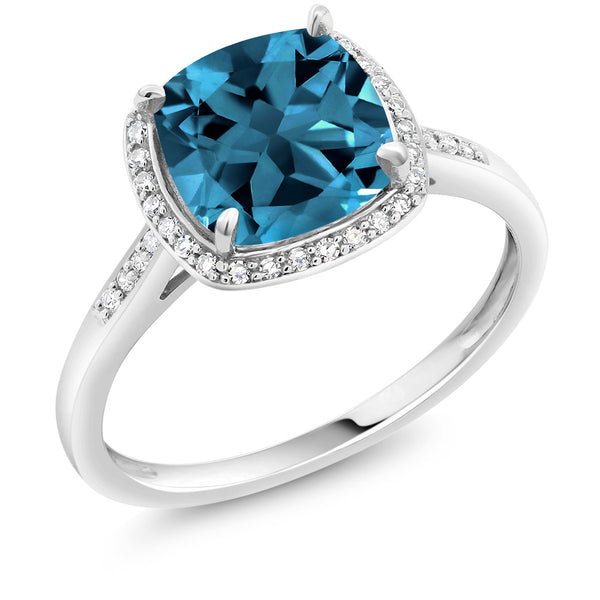 598751a9a88 2.74 Ct Cushion London Blue Topaz 10K White Gold Ring with Accent Diamonds