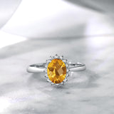 1.25 Ct Oval Checkerboard Yellow Citrine 10K White Gold Ring
