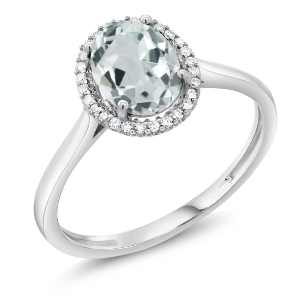 10K White Gold Diamond Ring 1.10 Cttw with Oval Sky Blue Aquamarine