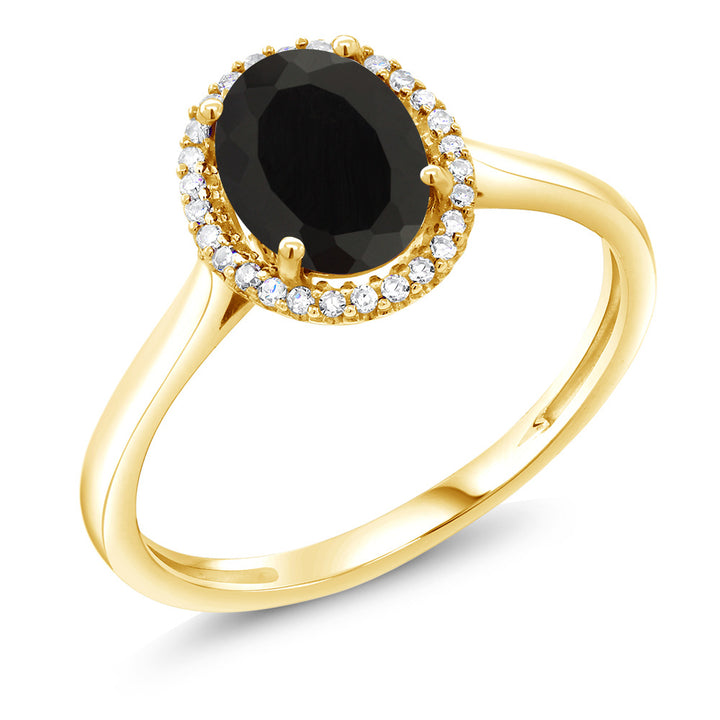 Gem Stone King 10K Yellow Gold Black Onyx and Diamond Women's Ring 1.25 Ctw Oval Available in (Available 5,6,7,8,9)
