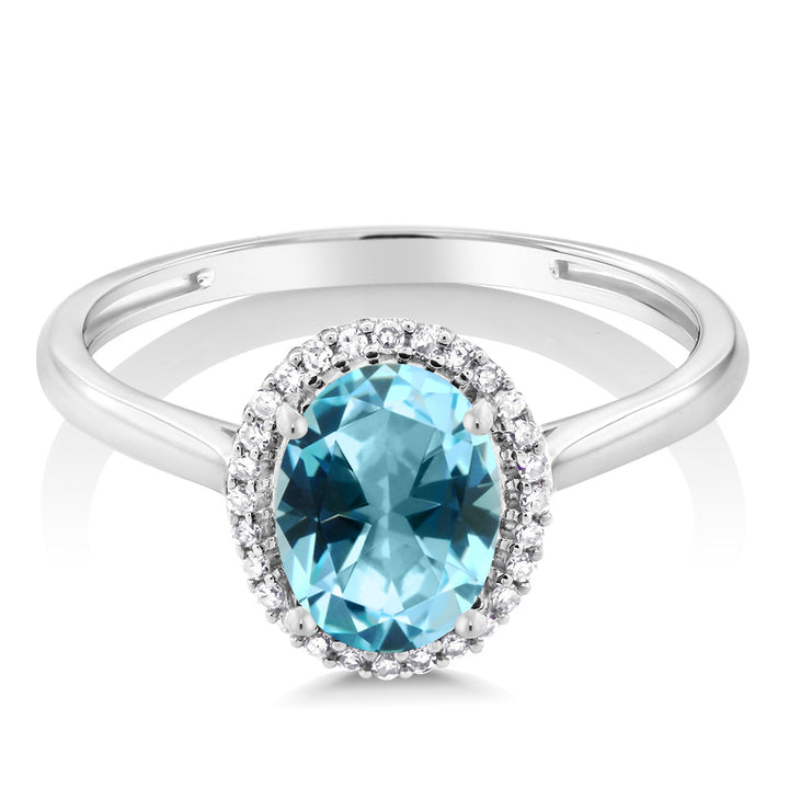 10K White Gold Diamond Ring Set with Oval Ice Blue Topaz from Swarovski